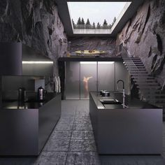 """Minimalism in a Lake by Reza Mohatashami The Mashhad-based architect Reza Mohatashami has designed """"Rocky house"""" a minimalist house with a spectacular mountain view situated in a la Dream House Interior, Luxury Homes Dream Houses, Dream Home Design, Modern House Design, Modern Houses, Dream Homes, House On The Rock, Tiny House, Amazing Architecture"""
