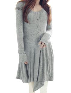 Allegra K Women Long Sleeve Tee Dress Pleated T Shirt #Dress High Low #Dresses and much more visit www.dddproducts.org