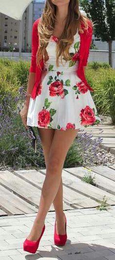 Floral Rose Dress. Pink Cardigan. Teen Fashion. By-Iheartfashion14 →follow←