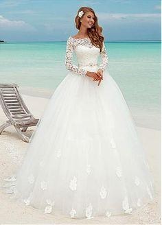 comprar Bateau vestidos de boda del vestido de escote de encaje balón fabulosa con apliques de encaje de descuento en Dressilyme.com
