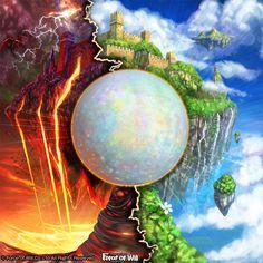 【Force of Will】 幻想球体 チェンジ・ザ・ワールド  Change the World, Orb of Illusion はある鉱物の美しさに魅入られて描きました。 僕は宝石には詳しくはなく、ネットで見つけた名も知らないその鉱物の写真の美しさを イメージの基礎として描けば今までにないきっと幻想的な絵になるに違いない。と思っ てたんですが、実はすっごく有名な宝石だと後で知りました。   皆さんがゲームプレイ時にお目にかかりし時、ファンタジーの世界を膨らませる エッセンスの一つになれば幸いです  (C) FORCE OF WILL Co.,Ltd. All Rights Reserved. http://fow-tcg.com/