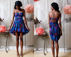 MutliColored Strapless Print Dress with cutout by BiancaRachele on etsy