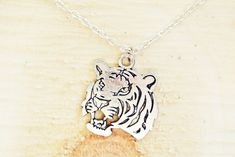 Silver Tiger Necklace | Tiger Charm Necklace | Tiger Jewelry | Silver Necklace | Mens Jewelry Mens Silver Necklace, Men Necklace, Zoo Keeper, Chinese Zodiac Signs, Be Your Own Kind Of Beautiful, Great Birthday Gifts, Simple Necklace, Spirit Animal, Handmade Necklaces