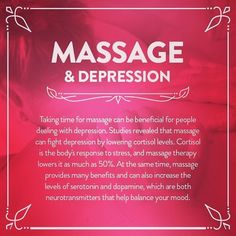 Massage increases serotonin and dopamine, which are both neurotransmitters that help reduce depression. #Massage #MassageRoom