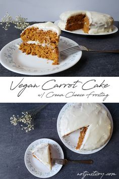 This sweet vegan carrot cake is moist, creamy, and super delicious. It's the perfect treat to sneak in some vegetables and satisfy your sweet tooth at the same time, and non-vegans will love it too! Vegan Carrot Cakes, Cream Cheese Frosting, My Recipes, Camembert Cheese, Carrots, Sweet Tooth, Treats, Vegetables, Ethnic Recipes