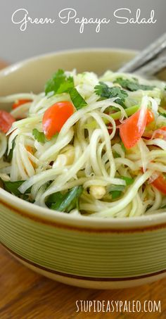 Green Papaya Salad, Paleo-style | stupideasypaleo.com Click here for the recipe >> http://stupideasypaleo.com/2012/06/13/green-papaya-salad/ #paleo #thai