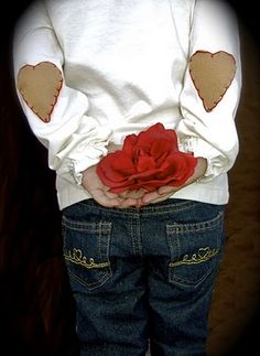 Wear your heart on your sleeve tutorial with a quilt stitch.