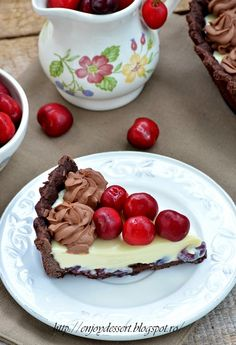 Chocolate Cherry, White Chocolate, Cherry Tart, Something Sweet, Cherries, Cheesecake, Pudding, Cakes, Baking
