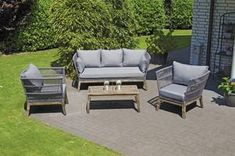 Lounge-Gruppe Astoria 1 x Sofa, 2 x Sessel, 1 x Tisch Alu/Akazienholz/Polyrope taupe incl. Kissen  Maße: Sessel B:82 T:82 H:67 cm Sitzhöhe:45 cm Sofa B:186 T:82 H:67 cm Sitzhöhe:45 cm Tisch B:100 T:39 H:50 cm #möbel #loungemöbel #gartenmöbel #garten Ikea, Outdoor Furniture Sets, Outdoor Decor, Home Decor, Grey Cushions, Lounge Seating, Sofa Set, Armchair, Decoration Home