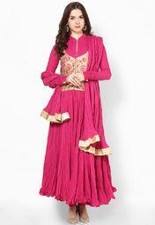 Rohit Bal For Jabong Fuchsia  Churidar Kameez Dupatta Online Shopping Store