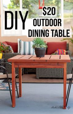 Easy 20 square outdoor dining table for small spaces Learn how to build this cheap outdoor table and get the plans and video Diy Outdoor Table, Outdoor Coffee Tables, Outdoor Dining, The Plan, Outdoor Wood Furniture, Diy Furniture, Industrial Furniture, Furniture Plans, Luxury Furniture