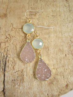 Beautiful as Bridal Earrings! Sand Druzy Earrings Drusy Quartz Sea Green by julianneblumlo, $135.00