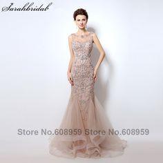 Luxury Rhinestone Mermaid Dubai Long Evening Dresses 2017 New Blush Crystal  Beading Pearl Sheer Prom Dress Robe De Soiree 4dd2e2692d99