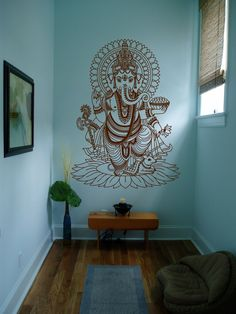 Ik430 Wall Decal Sticker Room Decor Wall Art Mural Indian God Om Elephant Hindu Success Buddha India Ganesha Ganesh Hindu Welfare Bedroom Meditation Yoga