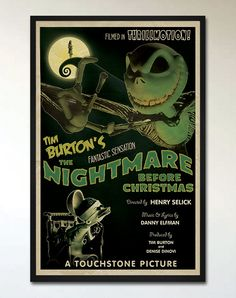 This is an alternative retro movie poster for the Tim Burtons The Nightmare Before Christmas, designed by Ehron Asher, inspired by posters