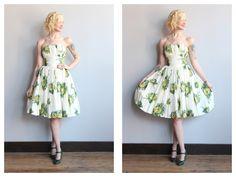 1950s Dress // Golden Rose Party Dress // vintage 50s bubble hem taffeta dress by dethrosevintage on Etsy https://www.etsy.com/listing/231715616/1950s-dress-golden-rose-party-dress