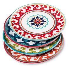 Suzani Melamine Dinner Plate Set of 4  sc 1 st  Pinterest & Blue Ikat Melamine Dinner Plates 10.5in - Set of 4   Ikat print ...