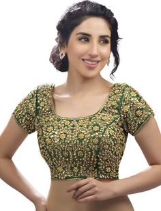 7d042589899 Buy Deep Green Zari Embroidered Blouse