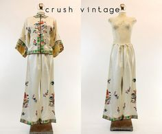 1950s Chinese Jacket Pants  / 50s Silk Embroidered by CrushVintage, $114.00