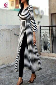 Zwart-witte strepen Crepe Kurti - Kurtis online in India - Kleider - damenmode Trendy Dresses, Elegant Dresses, Stylish Outfits, Nice Dresses, Casual Dresses, Fashion Dresses, Casual Clothes, Sporty Outfits, Casual Chic