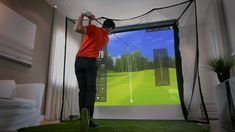 The HomeCourse Pro Retractable Golf Impact Screen lets you create an indoor driving range or golf simulator enclosure. Home Golf Simulator, Golf Room, Golf Stance, Golf Simulators, Wind Direction, Projection Screen, Screen Design, Cool Things To Make, Improve Yourself