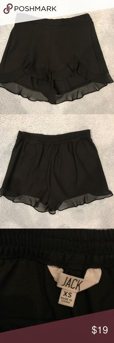 Black Chiffon Ruffle Shorts Classy black chiffon shorts, can be dressed up or down for any occasion. In perfect condition, worn ONCE! Jack Shorts