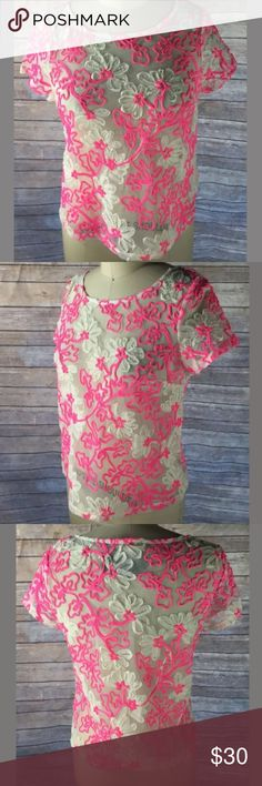 Anthropologie Meadow Rue Pink Floral Sheer Top New with tags. Sheer with ribbon floral designs. Anthropologie Tops Blouses