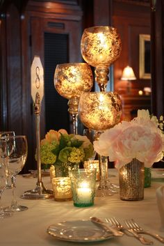 Tall Gold Mercury Glass Candles with Peonies & Viburnum by Petalena, 2010