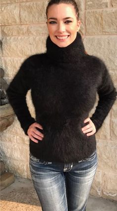 """42 """"L Fuzzy & Fluffy Angora Sweater with Tight & High Turtleneck SA. Thick Sweaters, Girls Sweaters, Sweaters For Women, Women's Sweaters, Fluffy Sweater, Angora Sweater, Gros Pull Mohair, Crop Top Sweater, Sweater Fashion"""