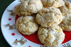 This recipe for gooey butter cookies is courtesy of my friend Debbie who makes these yummies for her annual Christmas party. Debbie is from St. Louis where gooey butter cake is a local staple and this gooey butter cookie recipe is meant to pay homage to that cake, albeit with about 10 fewer steps.