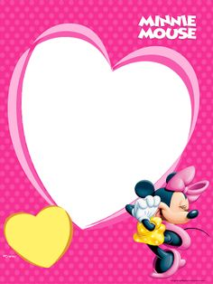 photo frame with a big heart and minnie Minnie Mouse Template, Mickey Minnie Mouse, Minnie Rosa Png, Donald Y Daisy, Scrapbook Da Disney, Miki Mouse, Disney Frames, Photo Frame Design, Cute Frames