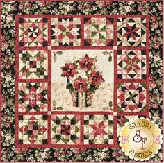 Poinsettias de Noel Kit: Create this stunning x Shabby Fabrics Exclusive quilt, Poinsettias de Noel! Designed by Jennifer Bosworth, this quilt features pieced outer blocks and an appliqued center block. Quilt Block Patterns, Pattern Blocks, Quilt Blocks, Cross Stitch Patterns, Quilt Stitching, Applique Quilts, Poinsettia, Christmas Wall Hangings, Shabby Fabrics