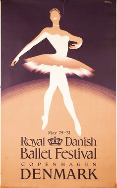 Old Original Danish Ballet Dance Travel Poster 1950s
