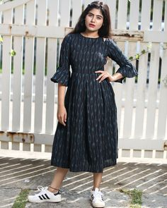 Black and Blue Ikat Bell Sleeve Midi Dress Kalamkari Dresses, Ikkat Dresses, Long Gown Dress, Frock Dress, Long Midi Dress, Long Dress Design, Dress Neck Designs, Frock Models, Casual Frocks