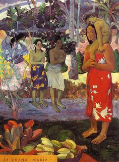 Orana Maria by Paul Gauguin in oil on canvas, done in Now in Metropolitan Museum of Art. Find a fine art print of this Paul Gauguin painting. Paul Gauguin, Henri Matisse, Metropolitan Museum, Poster Print, Kunst Online, Art Online, Impressionist Artists, Impressionism Art, Pics Art