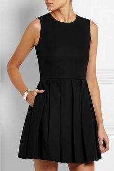 REDValentino Pleated stretch-cotton piqué mini dress | net-a-porter