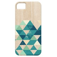 Teal Abstract geometric triangles on wood texture iPhone SE/5/5s Case #iphone #se #case