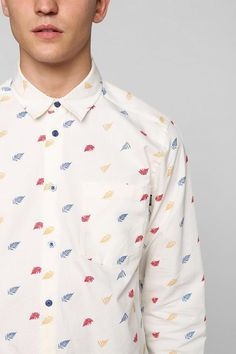 WeSC Jeremia button-down oxford shirt in woven heavy cotton with an allover leaf pattern. #urbanoutfitters