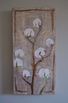 Cotton Stalk oil painting on High Cotton book pages on canvas southern cotton boll on Etsy, $125.00
