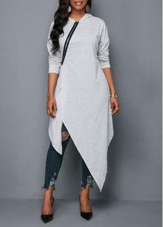 Zipper Front Hooded Collar Asymmetric Hem Blouse - Trend Way Dress Casual Skirt Outfits, Mode Outfits, Fashion Outfits, Womens Fashion, Fashion Clothes, High Fashion, Cheap Womens Tops, Trendy Tops For Women, Collar Blouse