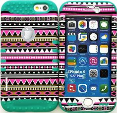 """myLife Stylish Design and Layered Protection Case for iPhone 6 Plus (5.5"""" Inch) by Apple {Turquoise Blue + Pink Shades """"Festive Aztec Tribal Finish with Kickstand"""" Three Piece SECURE-Fit Rubberized Gel} myLife Brand Products http://www.amazon.com/dp/B00PV5EVCW/ref=cm_sw_r_pi_dp_0G2Cub1AKQCW7"""