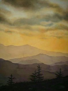 35 Easy Watercolor Landscape Painting Ideas To Try - Cartoon District Watercolor Landscape Paintings, Abstract Landscape, Watercolor Trees, Mountains Watercolor, Watercolor Animals, Watercolor Background, Urban Landscape, Watercolor Landscape Tutorial, Landscape Mode