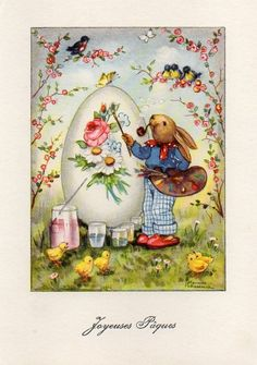 VINTAGE EASTER GREETING postcard of RABBIT ARTIST SMOKING A PIPE PEDERAUX