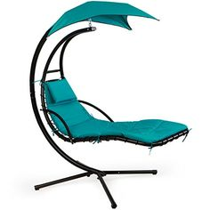 XtremepowerUS Floating Swing Chaise Lounge Chair Hammock Lounger Blue *  Click Image To Review More Details