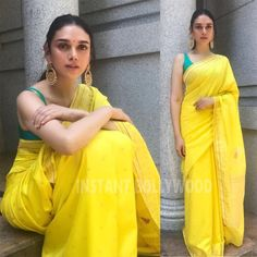 Like it  or Love it ❤️? Aditi Rao Hydari in a beautiful bright canary yellow sari for a wedding in New Delhi. Follow  @InstantBollywood for more updates . . #instantbollywood #bollywood #aditiraohydari #saree #sari White Kurta, White Saree, Yellow Saree, Yellow Kurti, Yellow Gown, Indian Dresses, Indian Outfits, Sari Design, Haldi Ceremony