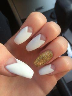 Matte white gold accent coffin nails
