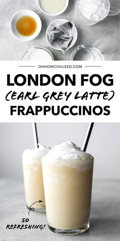 This refreshing London Fog frappuccino is made with Earl Grey tea and topped with a decadent whipped cream topping. This frozen drink will cool you down in seconds! This delicious frappuccino is easy to make at home and perfect all summer long! #tea #frappuccino #frozentea #easyrecipe Summer Drinks, Cold Drinks, Zen Tea, Making Whipped Cream, Frappuccino Recipe, Earl Grey Tea, Tea Latte, Tea Sandwiches, Frozen Drinks