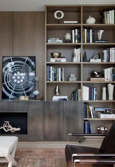 bookshelves and stain colour. interior by Kevin Dumais via: desire to inspire