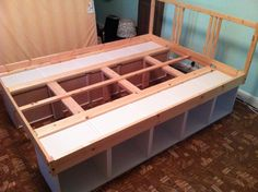 build a bed frame with storage underneath...
