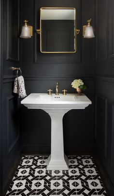 It's much harder to decorate tiny bathroom comparing to a big one, but it's not impossible for sure and we are going to prove you. Just check these best tiny bathroom ideas. Powder Room Decor, Powder Room Design, Powder Room Paint, Small Toilet Room, Small Bathroom, Bathroom Ideas, Art Deco Bathroom, Dark Bathrooms, Beautiful Bathrooms